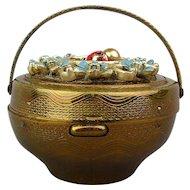 Vintage Bronzetone Basket Box Flowers Ladybug Mystery