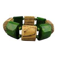 1940s Chunky Bakelite - Wood Stretch Bracelet