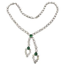 Vintage Clear Crystal Rhinestone Necklace w/ Double Dangles