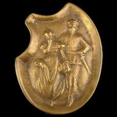 WW1 Era Bronze Risque Dish Ashtray Paperweight Soldier w/ Damsel