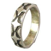 Vintage Mens Sterling Silver Ring Band Modernist Design