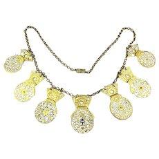 Antique Victorian Necklace 17th C. Watch Cocks w/ Diamond Center