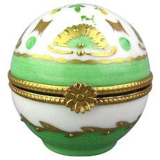 Limoges France Porcelain Box Round Pill Trinket Ball