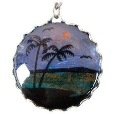 c1950 Butterfly Wing Pendant Necklace Palm Trees Scenic Silhouette