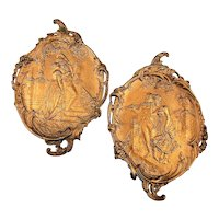 Pair Victorian Romantic Wall Plaques Copper Clad Detailed