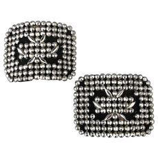 Pair Victorian French Cut Steel Marcasite Shoe Clips