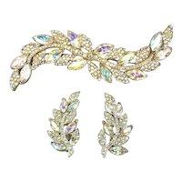 Vintage Mega Long Rhinestone Pin w/ Earrings - Aurora Borealis Bling