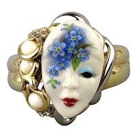 Jeweled Clamper Bracelet w/ Porcelain Face