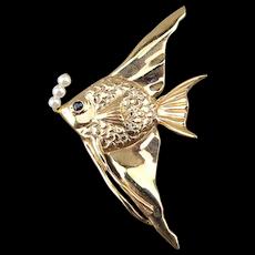 14K Yellow Gold Fish Pin / Pendant w/ Pearl Bubbles - Sapphire Eye