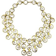 Vintage Tammy Jewels Lavish Gilt Rhinestone Necklace Big Bib