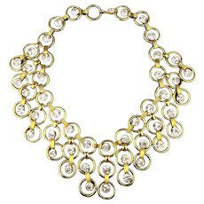Vintage Tammy Jewels Lavish Gilt Rhinestone Necklace Big Bib