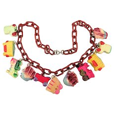 Vintage Celluloid Charm Necklace 1930s Handpainted Charms Transportation