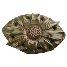 Huge Old Bakelite Carved Sunflower Pin Brooch