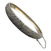 Vintage Sterling Silver Marcasite Hinge Bracelet