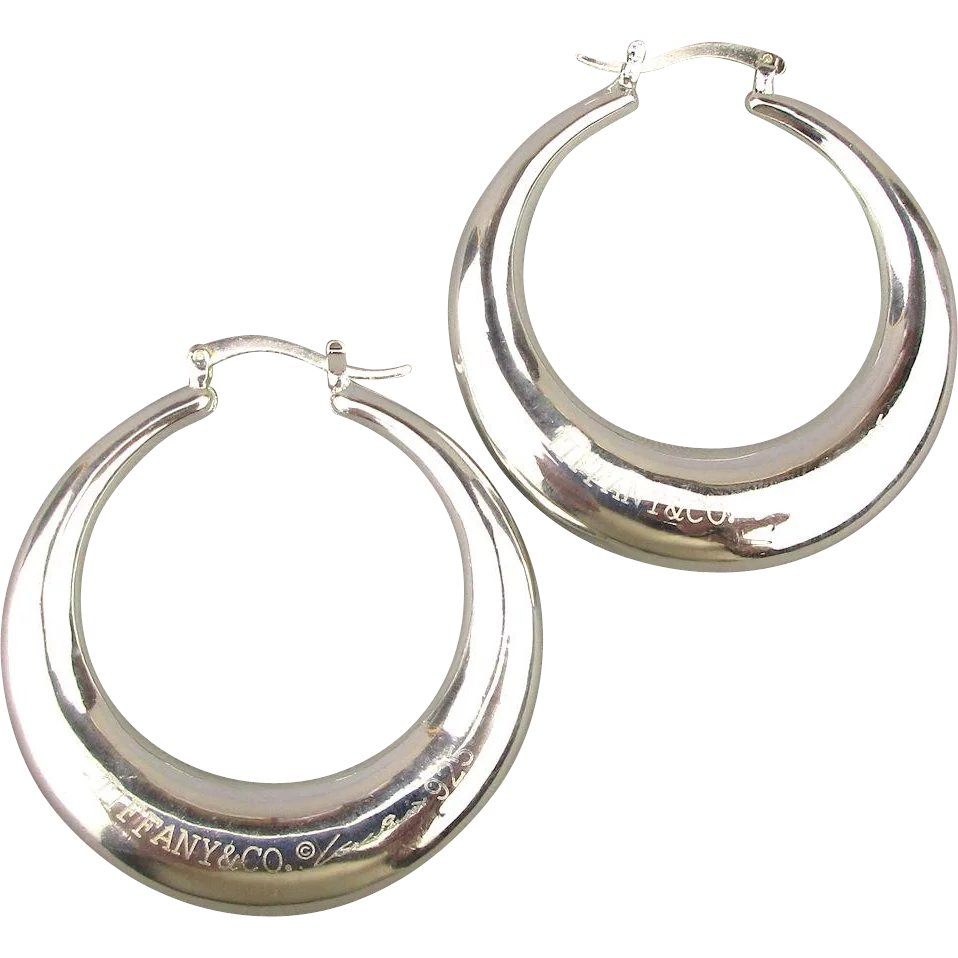 176878f5e Large Tiffany & Co. 925 Elsa Peretti Signature Hoop Earrings :  GreatVintageStuff | Ruby Lane