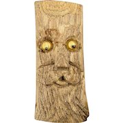 Vintage Hand-Carved Wood Tree Pin w/ Googly Eyes