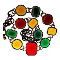 Vintage Bold Jewel-Tone Lucite Stone Necklace
