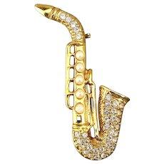 Signed Vintage Rhinestone Saxophone Sax Pin Brooch