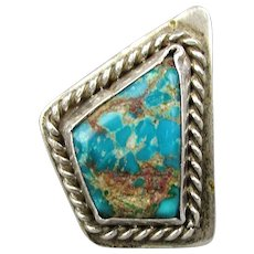 Abstract Bisbee Turquoise Sterling Silver Ring