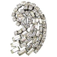 Vintage Signed KRAMER Rhinestone Comet Dress Clip Pin