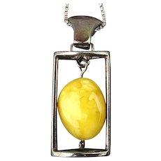 Sterling Silver Egg Yolk Amber Pendant Necklace Egg Drop Dangle