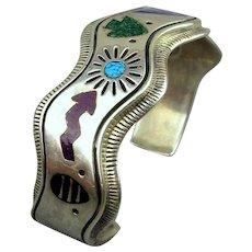 Vintage Carolyn Pollack Sterling Silver Inlay Storyteller Cuff Bracelet