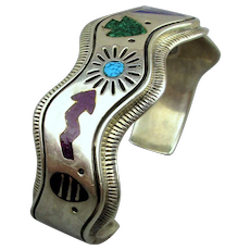 Vintage Carolyn Pollack Sterling Silver Inlay Storyteller Cuff Bracelet