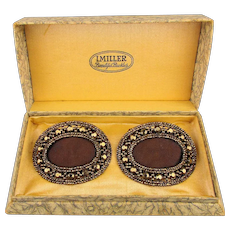 Pair 1920s I. Miller Marcasite Shoe Clips in Original Box