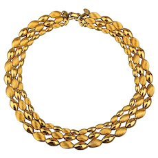 Lavish Vendome 3 Strand Russian Gold-Plate Bead Necklace