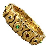 1980s Jeweled Gold-Tone Clamper Bracelet Hefty Design