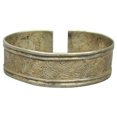 Antique Chinese Qing Dynasty Sterling Silver Bracelet - Chased Cuff