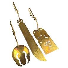 Modernist Cut-Through Brass Serving Piece Utensil Set Signed