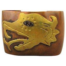 Modernist Mexican Copper - Brass Serpent Cuff Bracelet Snake Head