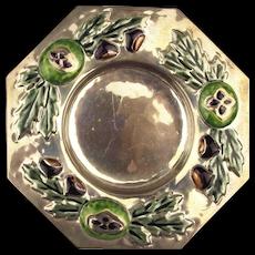 Vintage Italian Argento Crisca 925 Sterling Silver Dish Enamel Repousse