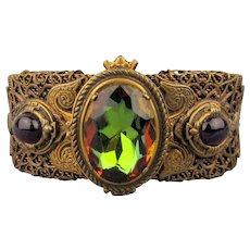 Antiqued Bronze Cuff Bracelet w/ Huge Watermelon Faux Tourmaline Stone