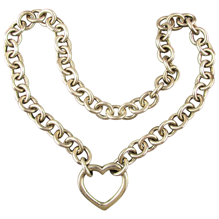 7d017dfe5ae5d Vintage Tiffany & Co. Sterling Silver Heart Clasp Necklace w/ Box