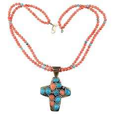 Desert Rose Trading Coral Turquoise Bead Necklace w/ Sterling Silver Cross