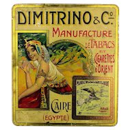 Early c1910 Adv. Lithographed Tin Box - Dimitrino Cigarettes Egyptian Smoking Lady