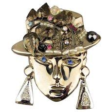 Signed Vintage Big Head Pin Woman w/ Jeweled Hat Brooch
