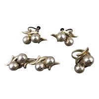 Vintage Mexican Sterling Silver Set - Pin - Ring - Earrings