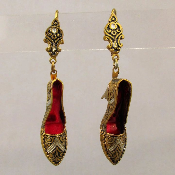 Vintage Damascene Shoe Pumps Earrings Spanish Inlay