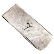 Vintage Sterling Silver Money Clip - Medical Caduceus Signed Destino