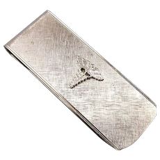 Vintage Sterling Silver Money Clip - Medical Caduceus Signed Destino