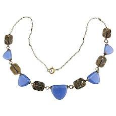 Art Deco Czech Necklace Periwinkle Glass w/ Ornate Brass