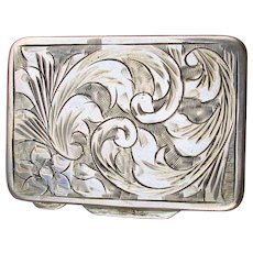Old 800 Silver Pill Box Etched All Over