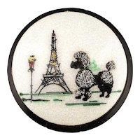 Ooh Lala 1950s Enamel Lucite Compact Powder Box Eiffel Tower - Poodle