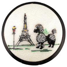 Ooh Lala 1950s Enamel Lucite Compact Powder Box Eiffel Tower - Poodle