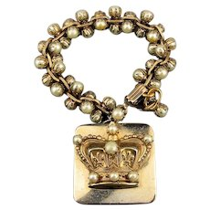 Vintage Faux Pearl Gilt Bracelet w/ Big Chunky Charm
