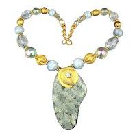 Bold Lucite Gold-Tone Bead Necklace w/ Mega Pendant