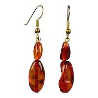 Vintage Baltic Amber Drop Earrings for Pierced Ears